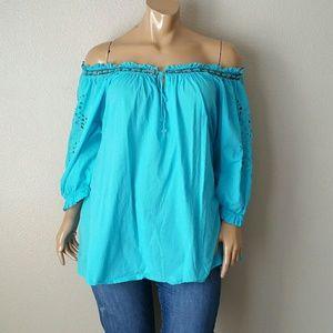 Denim 24/7 Blue Off Shoulder Blouse